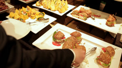 Complimentary meal at a Business meeting Stock Footage