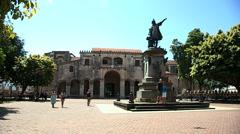 Christopher Columbus Sculpture Stock Footage