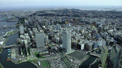 Yokohama city scenics from a tower (4) Stock Footage