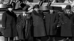 1919 - GovAlfredSmithandMayorHylanOnboardGeorgeWashington04.mp4 Stock Footage