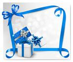 Stock Illustration of holiday background with blue gift bows with blue ribbons. vector illustration