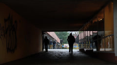 People in a underpass - stock footage
