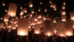Yee Peng and Loy Krathong Festival of Lights and Hot Flying Lanterns at Mae Jo Stock Footage