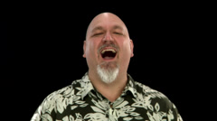 A fat bald white man laughs Stock Footage
