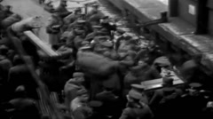 1919 - Soldiers Leaving Transporter in New York Harbor 02 - stock footage