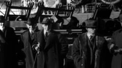 1919 - Gov. Smith & May. Hylan on board George Washington 03 Stock Footage