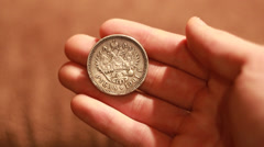 Old, vintage coins, Silver ruble 1901 year, Full HD, 1080P Stock Footage