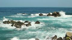 Rocks and sea at Tayrona national park, Colombia Stock Footage