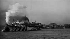 1919 - US Destroyer Leaving New York 01 Stock Footage