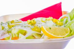 onion lemon and cucumber in salad - stock photo