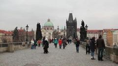 Prague - Charles Bridge Stock Footage