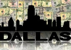 dallas skyline reflected with dollars illustration - stock illustration