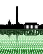 Washington dc skyline reflected with dollar symbols illustration Stock Illustration