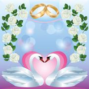 Wedding greeting or invitation card with swans Stock Illustration