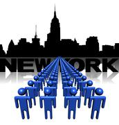 Lines of people with new york skyline illustration Stock Illustration