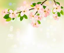 spring background with blossoming tree brunch with spring flowers. vector ill - stock illustration