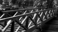 1919 - US soldiers Entering And Leaving Transporter New York Harbor 01 - stock footage