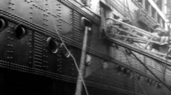 1919 - US soldiers Entering Transporter At New York Harbor 23 - stock footage
