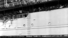 1919 - US soldiers Leaving Transporter New York Harbor 02 - stock footage