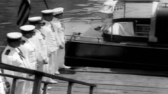 1919 - US transporter Charles 02 - Officers Leaving Ship 03 Stock Footage