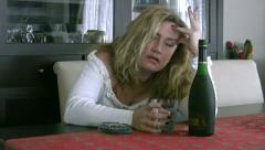 Alcoholic woman Stock Footage