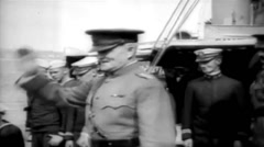 1919 - US transporter Leviathan - General Pershing Boarding 02 Stock Footage