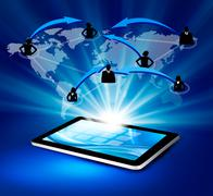 modern communication technology illustration with tablet.vector - stock illustration
