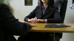 Young Business Executive Women Interviewing Candidate - stock footage