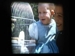 Mom, Baby and pet Parakeet Stock Footage