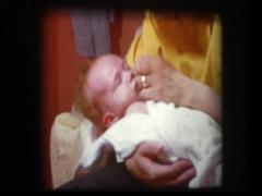 Mom lovingly dries newborn baby after bath Stock Footage
