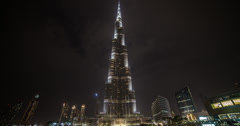 4K night time lapse of the Burj Khalifa in Dubai Stock Footage