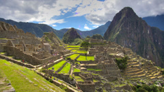 Machu Picchu wide angle in time lapse with clouds Stock Footage