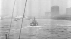 1919 - US transporter Leviathan (formerly Vaterland) 35 - New York Skyline Stock Footage