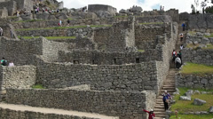 Machu Picchu wide angle in time lapse showing people moving around Stock Footage