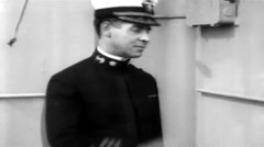 1919 - US transporter Leviathan (formerly Vaterland) 37 - Captain & Officers 02 Stock Footage