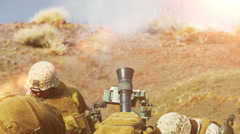 Two soldiers launching a mortar attack. Stock Footage