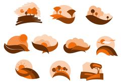 autumnal nature icons and symbols - stock illustration