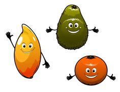 Stock Illustration of avocado, mango and orange