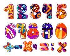 Cartoon colourful school numbers Stock Illustration