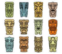 tribal masks of idols and demons - stock illustration
