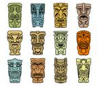 Stock Illustration of tribal masks of idols and demons