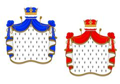 red and blue royal mantles - stock illustration