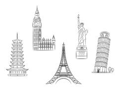 Travel landmarks set Stock Illustration