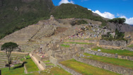 Stock Video Footage of Machu Picchu wide angle in time lapse showing people moving around