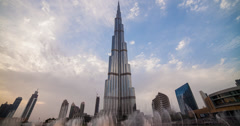 4K time lapse of the Burj Khalifa and it's fountains in Dubai Stock Footage