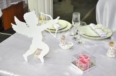 happy valentines day. laying holiday table - stock photo