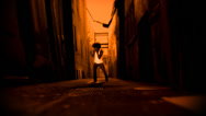 Stock Video Footage of A male dancer  is dancing in a CGI alley