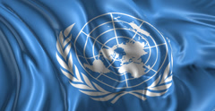 Flag of United Nations - stock footage