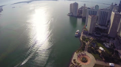 Panoramic aerial of Downtown Miami Stock Footage
