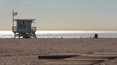 Venice Beach Life Gaurd Stand Stock Footage